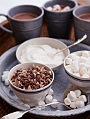 An arrangement of ingredients and cocoa