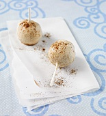 Two Cinnamon Cake Pops on Folded Paper