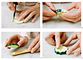 Cucumber slices being made from modelling clay