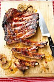Barbecued, marinated pork ribs (honey & soy marinade)