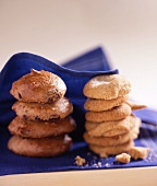 Stacks of yoghurt biscuits and chocolate biscuits