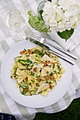 Pappardelle with courgette and walnuts
