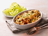 Cheese Spätzle (soft egg noodles from Swabia) with lettuce