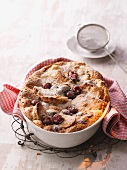Kirschmichel (cherry bread pudding) dusted with icing sugar