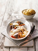 Soused herring with apples, onions, sour cream and new potatoes