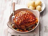 Crispy roast pork with potato dumplings