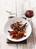 Game ragout with chanterelle mushrooms and lingonberries