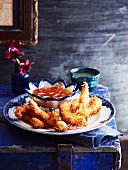 Coconut prawns with two dips