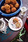 Arancini (deep-fried stuffed rice balls, Sicily)