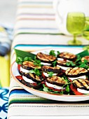 Aubergine quesadillas with spinach, mozzarella and roasted peppers