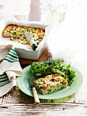 Chicken, bacon and pea frittata