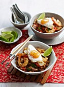 Nasi Goreng with chicken, prawns and fried egg