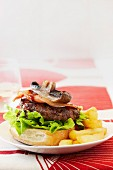 Burger with grilled beef, mushrooms and bacon