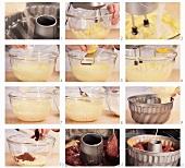 Marble cake being prepared