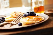 Pancakes with Blueberries, Blackberries and Honey