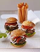 Three lamb burgers