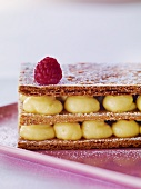 Mille feuilles with vanilla cream and raspberries