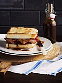 Toasted bacon sandwich and homemade tamarind sauce