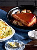 Cider-braised bacon with rumbledethumps (potato cabbage bake, Scotland)