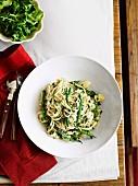 Ligurian pasta with potatoes, green beans and basil pesto