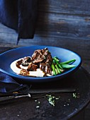 Braised beef cheeks with cauliflower pur