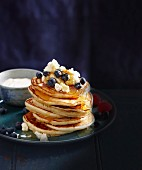 Buttermilk pancakes with blueberries