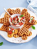 Savoury waffles with tomato salsa and feta