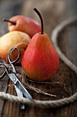Red pears with string and scissors