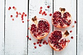 Pomegranate halves and seeds