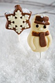 A marzipan snowman and a chocolate star
