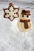 A marzipan snowman and a chocolate star