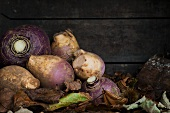 Turnips in a crate of autumn leaves