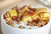 Greek Yogurt with Granola, Almonds and Peaches