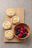 Small pavlovas filled with lemon cream