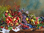 An arrangement of fruits featuring berries and late summer fruits