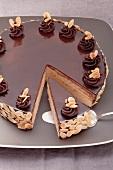 A marzipan and almond layer cake with chocolate glaze (Herrentorte)