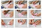 Rosafarbene Babyschuhe aus Bastelton oder Fondant herstellen