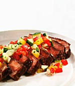 Sliced Steak with Diced Sauteed Vegetables