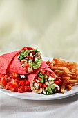Chicken and Veggie Wrap with Guacamole; Salsa and French Fries