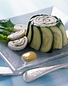 Individual sole roulette wrapped in courgette slices