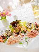 Decorative starters of fish and seafood