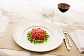 Carne cruda all'albese (steak tartare with truffles, Italy)