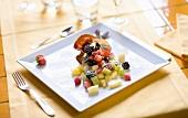 Fresh fruit salad in a crispy wafer