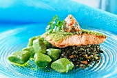 Salmon with spinach gnocchi and lentils