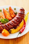 Grilled sausage with hot peppers