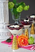 White chocolate parfait with blackberry sauce