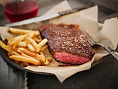 Wagyu Strip Steak with French Fries