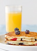 Blueberry and Strawberry Buttermilk Pancakes; Orange Juice