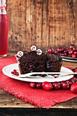 Chocolate cupcake filled with cranberry jam