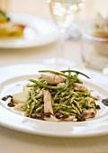 Trofie al branzino (pasta with pesto and sea bass)